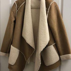 Saks fifth avenue faux fur tan jacket